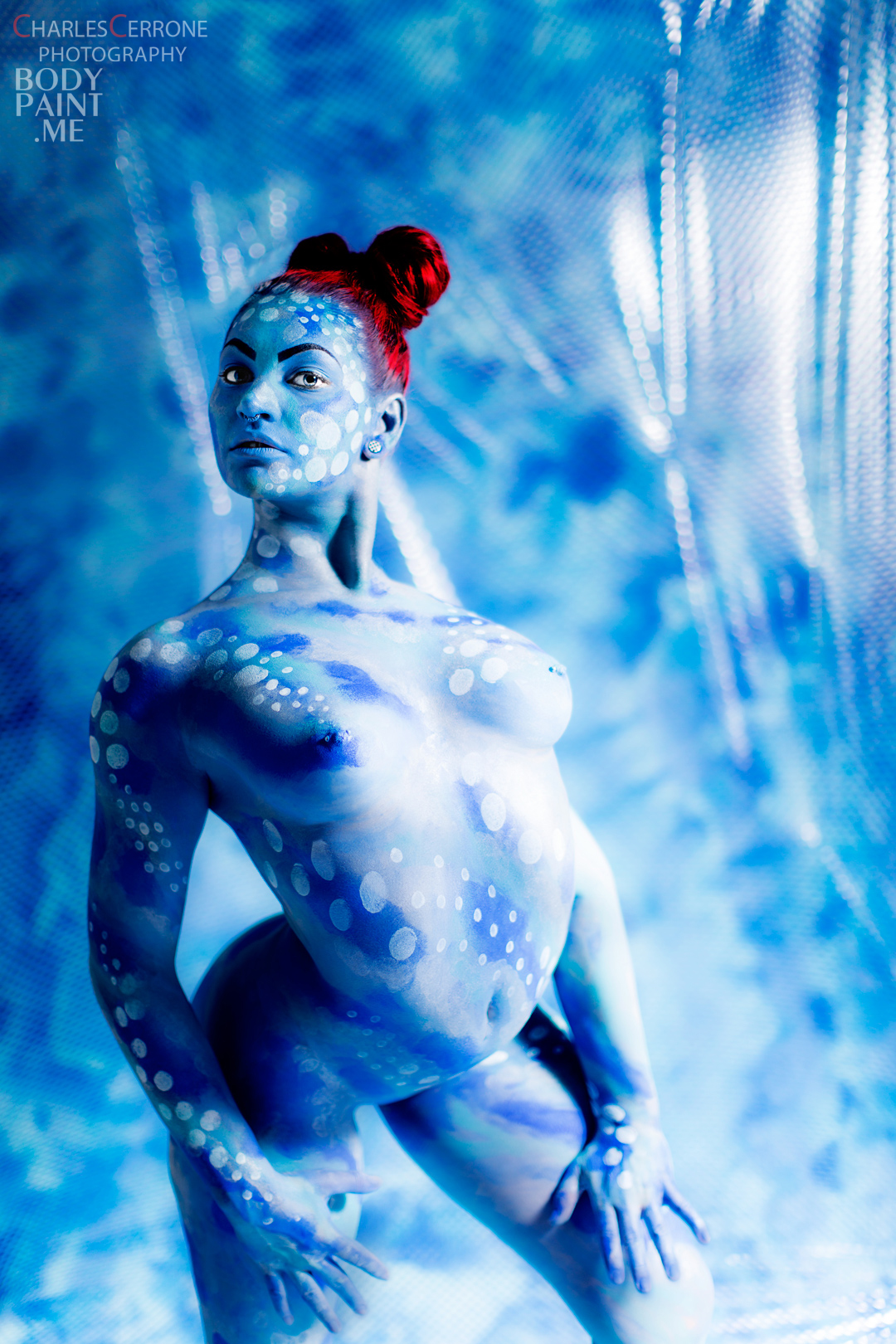 Bodypainted Contortionist - Scarlet Checkers - Bodypaintme-4732